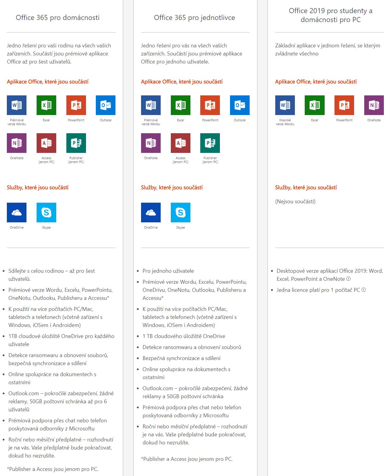 1d1011a67 Podívejte se na porovnání Office 365 pro domácnosti, jednotlivce a Office  2019